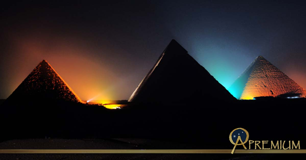 Pyramids of Giza at Night