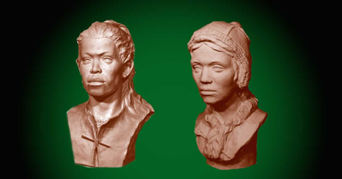 Reconstructed heads of the children that may have been sacrificed for a double burial in Sunghir, Russia.