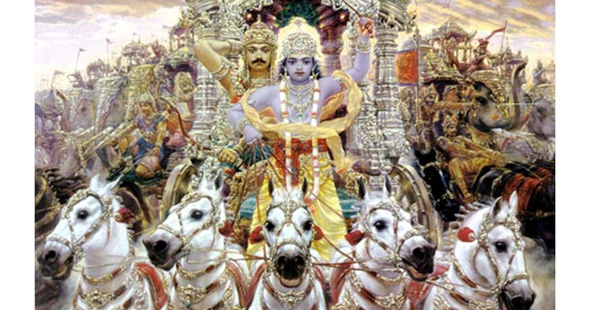 Krishna driving a chariot with Arjun behind in Mahabharata