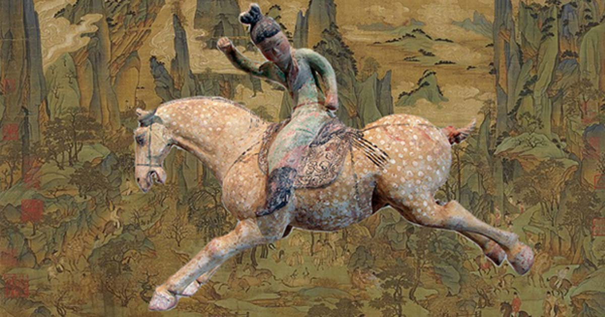 A ceramic female polo player, from northern China, Tang Dynasty, first half of the 8th century, made with white slip and polychrome. From the Musée Guimet (Guimet Museum), Paris. (Public Domain) Background: 'Xuanzong's Journey to Shu', in the manner of the mid-8th century Tang artist Li Zhaodao, an 11th-century Song dynasty remake.