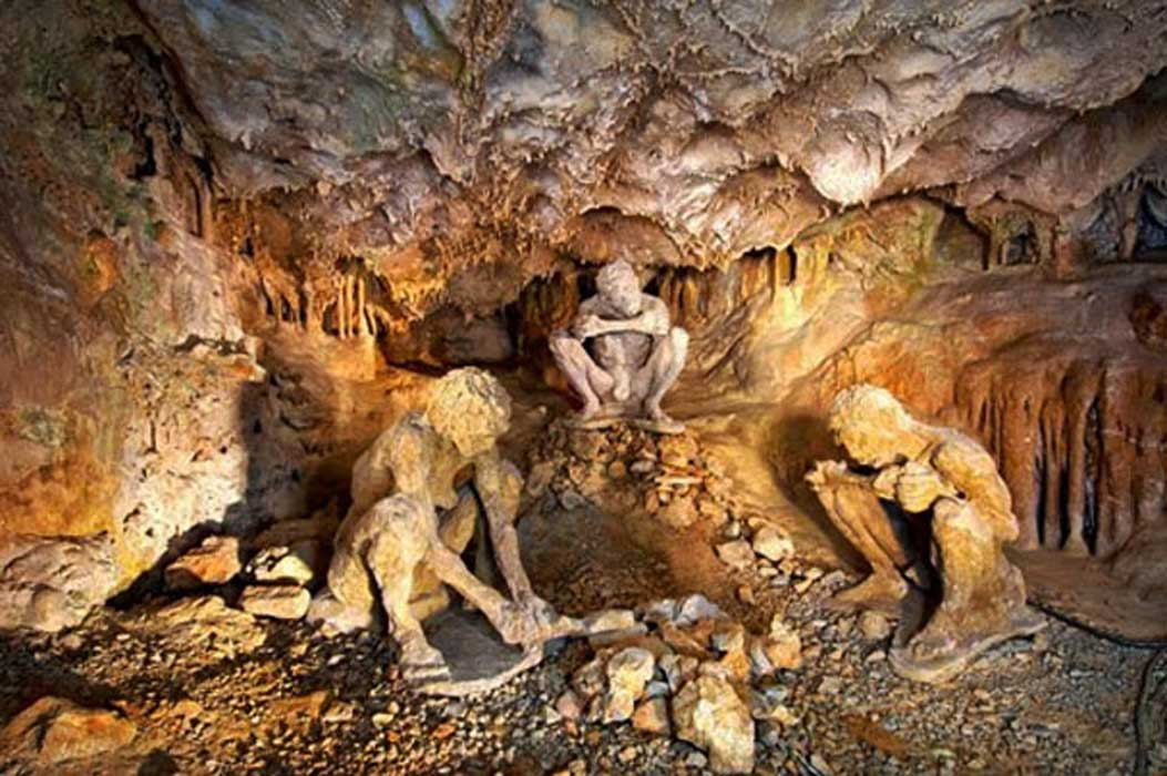 Stone Age scene recreation in Theopetra cave.