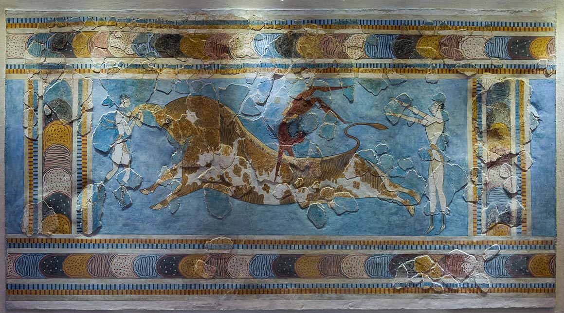 The bull-leaping fresco of Knossos palace, in Crete, Greece, dated to about 1600 to 1450 BC. The bull was an important animal in Minoan religion and closely related to the great goddess the Cretans worshiped.