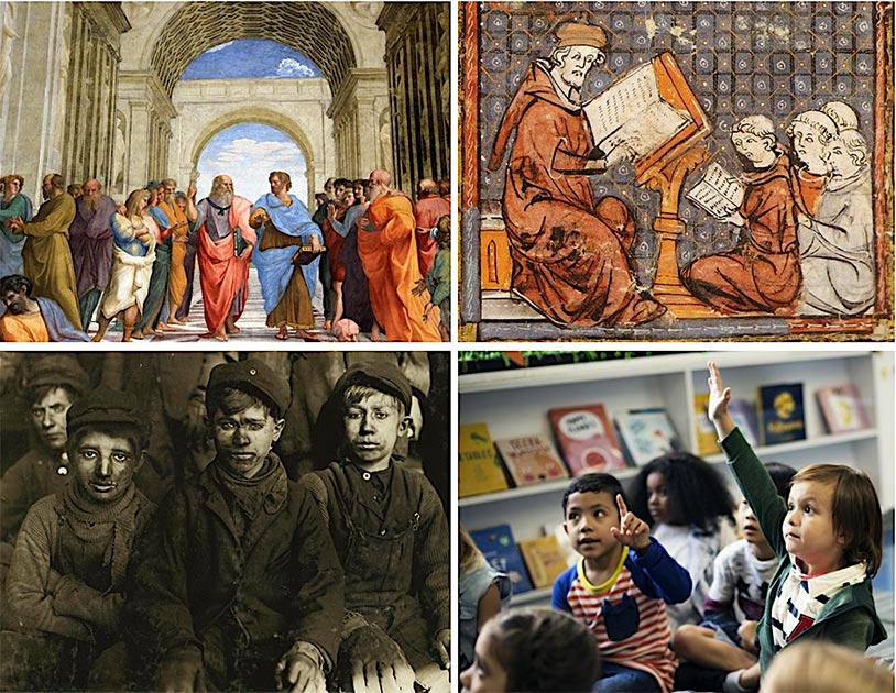 The history of childhood and education in Western civilization has evolved significantly over the last 2000 years, from no education to child labor to formal schools, how exactly did it all change?     Pictured: Top left: The School of Athens, a famous fresco by the Italian Renaissance artist Raphael, with Plato and Aristotle as the central figures in the scene (Jorge Valenzuela A / CC BY-SA 3.0).         Bottom left: Group of child labor boys during the Industrial Revolution (Lewis Hine / Public domain).
