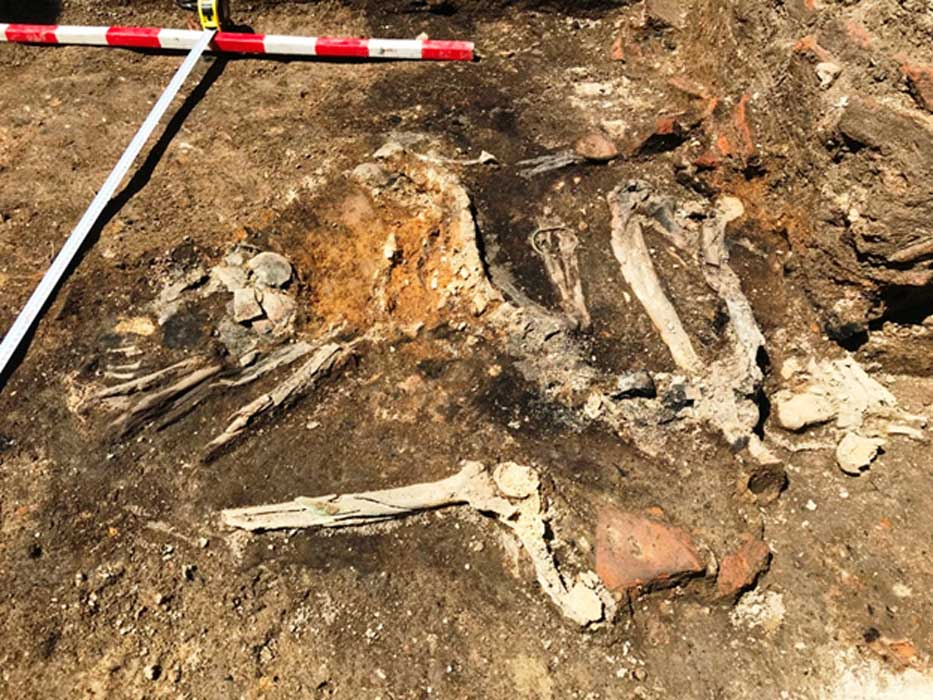 Burnt skeletons found at excavations in Plovdiv, Bulgaria