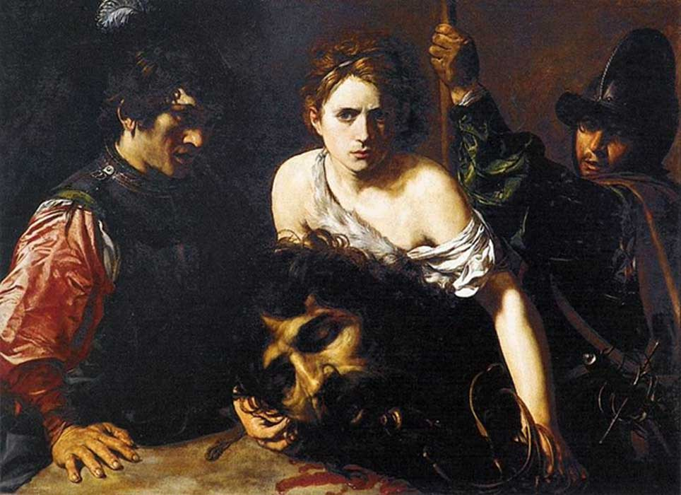 """David with the Head of Goliath,"" circa 1615–16 by Valentin de Boulogne (French, Coulommiers-en-Brie 1591–1632 Rome) Museo Thyssen-Bornemisza, Madrid."