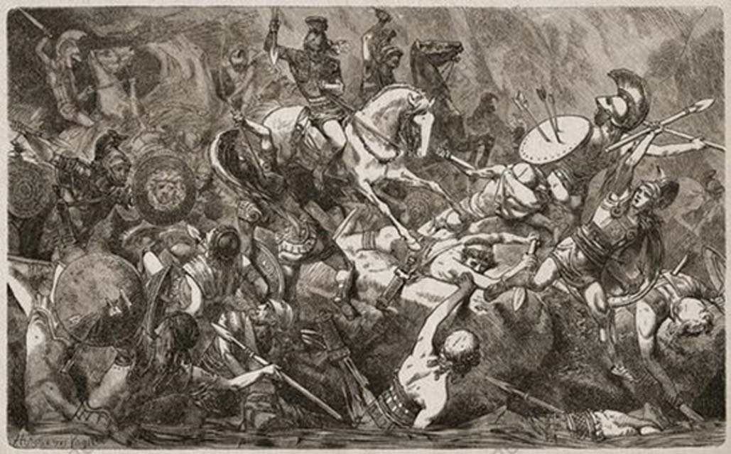 The fall of the Athenian army in Sicily during the Peloponnesian War in 413 BC as depicted in an 1893 illustration by J.G.Vogt.