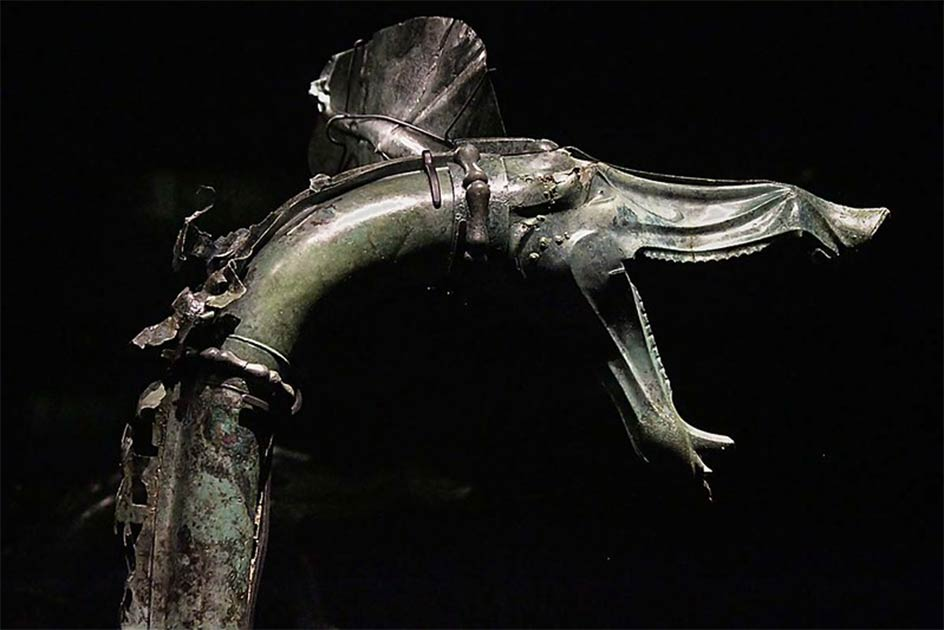 Carnyx, a Celtic war trumpet found in the Gallic sanctuary of Tintignac.          Source: Harrsch, M / CC BY-NC-SA 2.0
