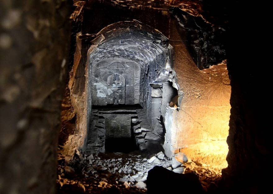 Inside the replica of the tomb dedicated to the god Osiris