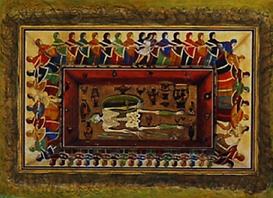 19th century watercolor of the Tomb of the Dancers.