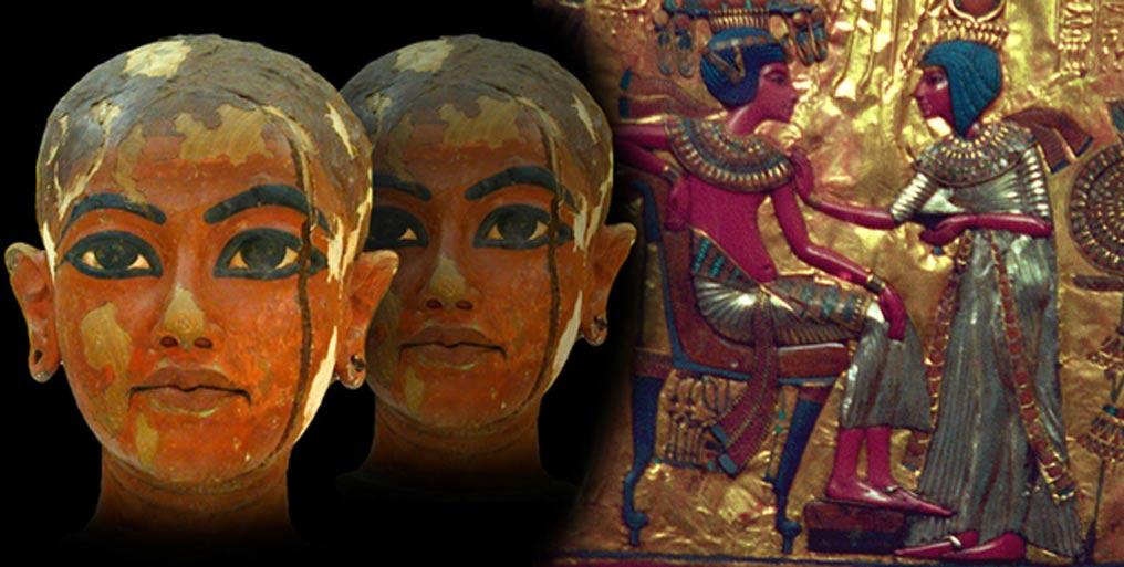 Deriv; Sculpture depicting the King Tutankhamun as a child, gold plate with Tutankhamun and Ankhesenamun.