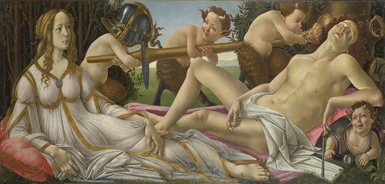 Venus and Mars, c 1485. Tempera and oil on poplar panel, National Gallery, London.