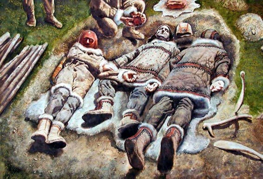 Artist's representation of the triple burial of Dolni Vestonice