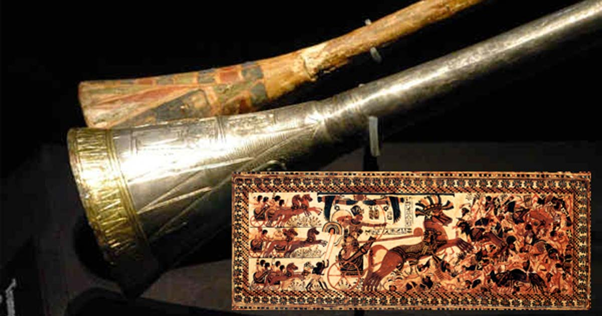Tutankhamun's silver trumpet with wooden insert. Tutankhamun's War Chest by Asaf Braverman