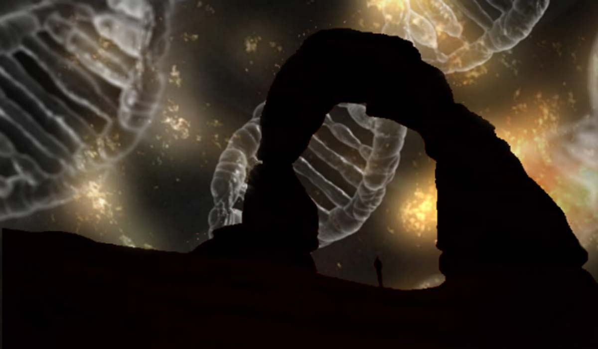 Silhouette of a person under an arch. (CC0)  Background: DNA.