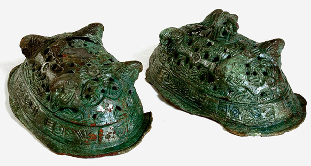 Two Viking-era brooches found in the grave with the Woman in Blue.