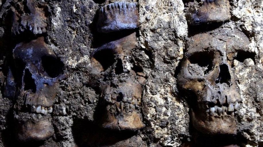 Detail of skulls on the tzompantli (skull rack) found under Mexico City