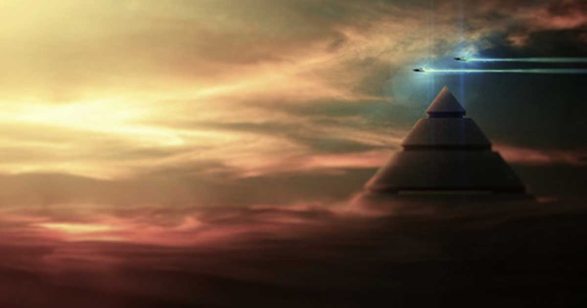 An artist's representation of a pyramid with UFOs.
