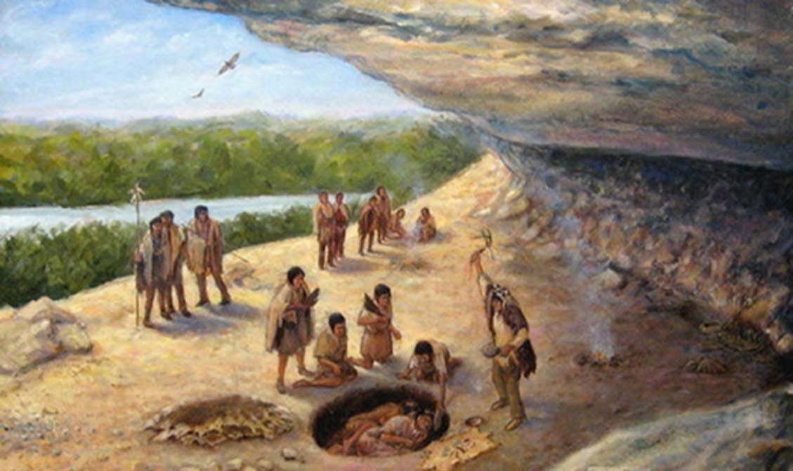Illustration of Paleoindians during a burial.