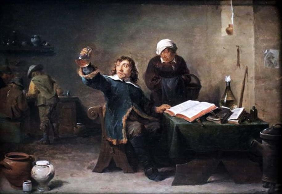 Village Doctor Looking at a Urine Sample (1640s) by David Teniers the Younger.