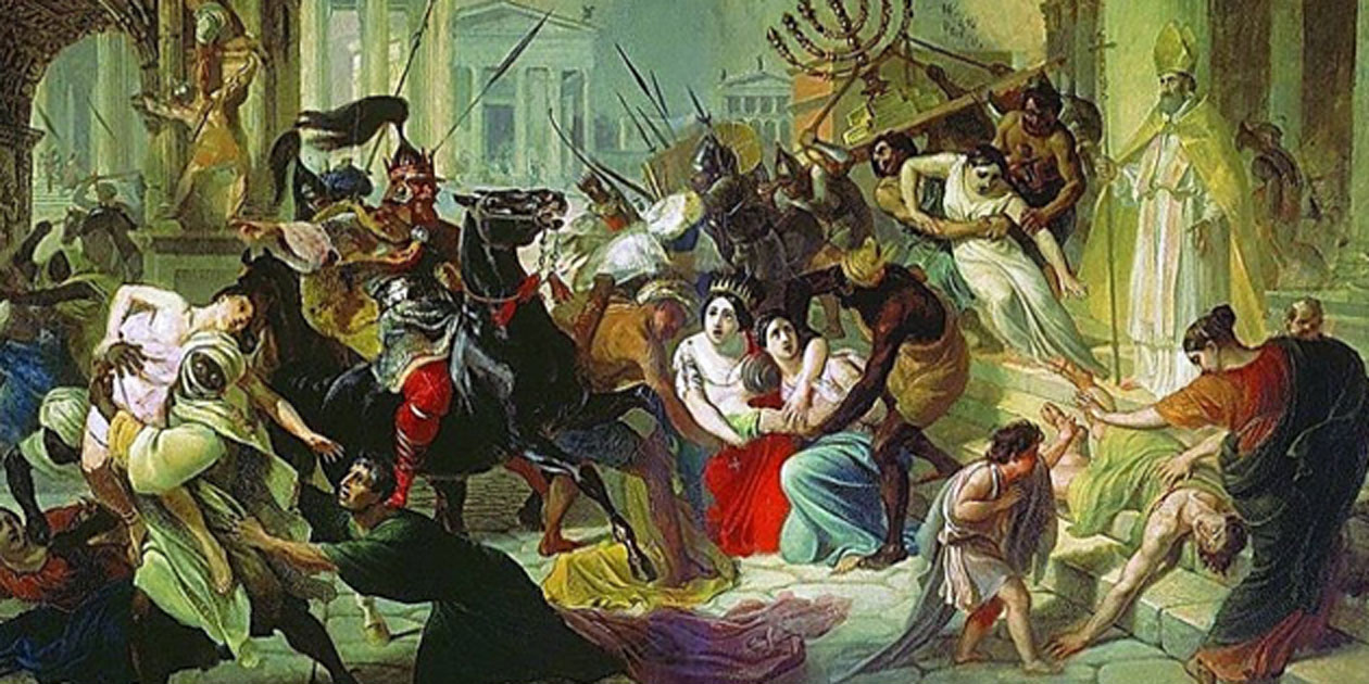 Sack of Rome' by Karl Briullov. (1833-1836) in the Tretyakov Gallery, Moscow. This painting is showing the Vandal king Gaiseric sacking Rome
