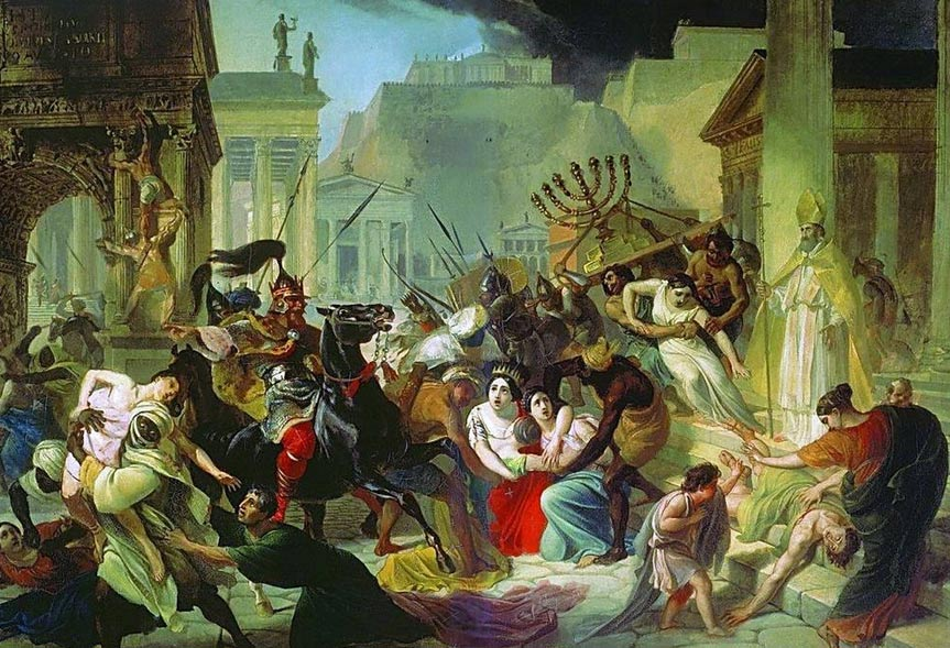 During the sack of Rome by the Vandals in the 5th century AD, the Vandals took hostages include Roman Emperor Petronius Maximus' wife.