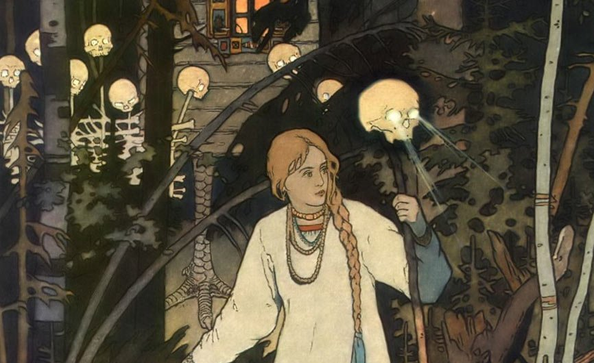 An illustration of Vasilisa the Beautiful, by Ivan Bilibin.