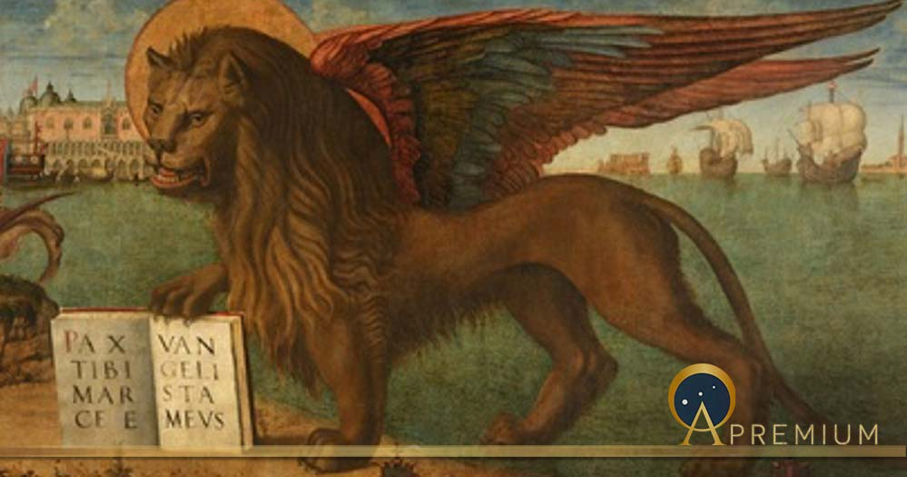 "Mark the Evangelist's symbol is the winged lion, the Lion of Saint Mark. Inscription: PAX TIBI MARCE EVANGELISTA MEVS (""peace be upon you, Mark, my evangelist""). The same lion is also symbol of Venice (Public Domain)"