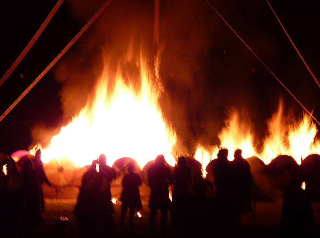 Photo of Viking figures before a great fire. Would flames await Pagans in Hell?