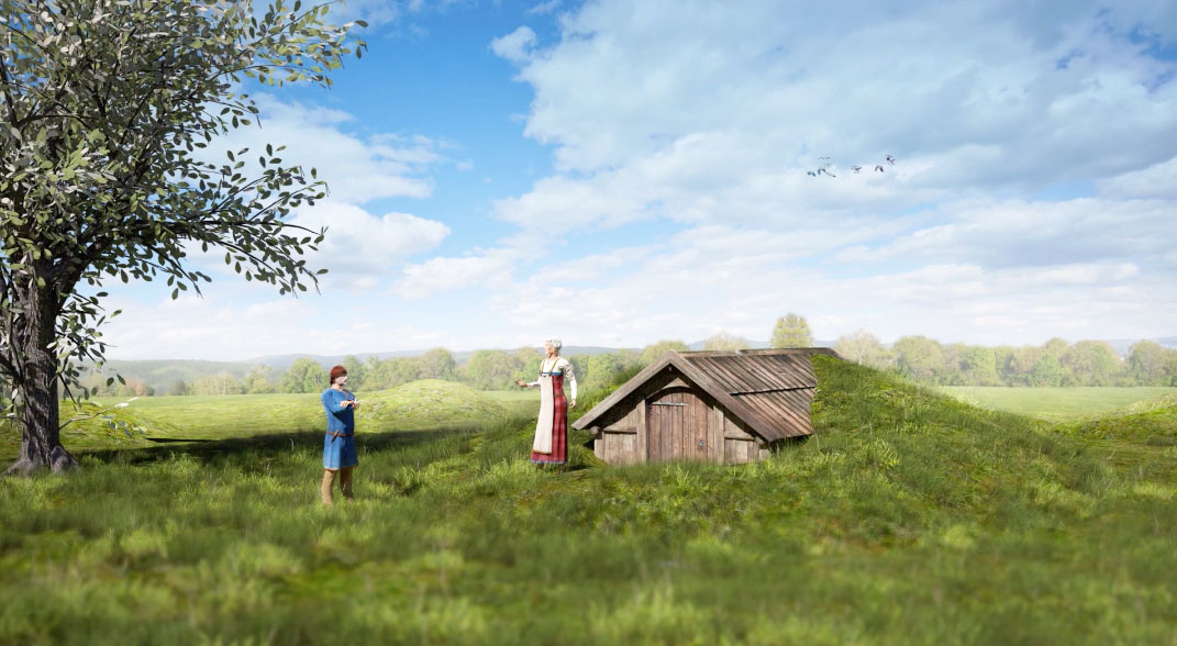 How the Viking mausoleum would have looked according to archaeologists. Source: Raymond Sauvage, NTNU Vitenskapsmuseet