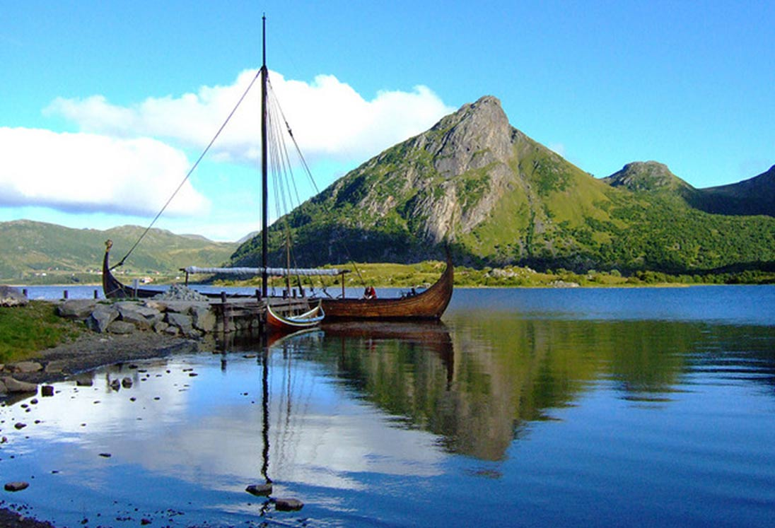 Replica of 9th century Viking ship docked in Norway.