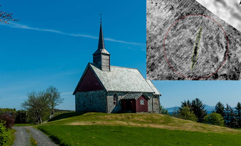 The Viking ship burial was found by the old Edøy church in Norway.
