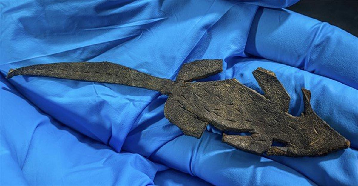 Shot of an archaeologist holding the leather prank mouse found in the Roman fort of Vindolanda.      Source: Vindolanda Trust