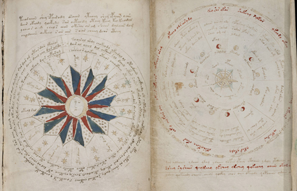 A page from the mysterious Voynich manuscript, which is undeciphered to this day. The image on the right indicates a 24-month cycle with the seasons listed and the image to the left indicates the moon-cycles and planetary positions.