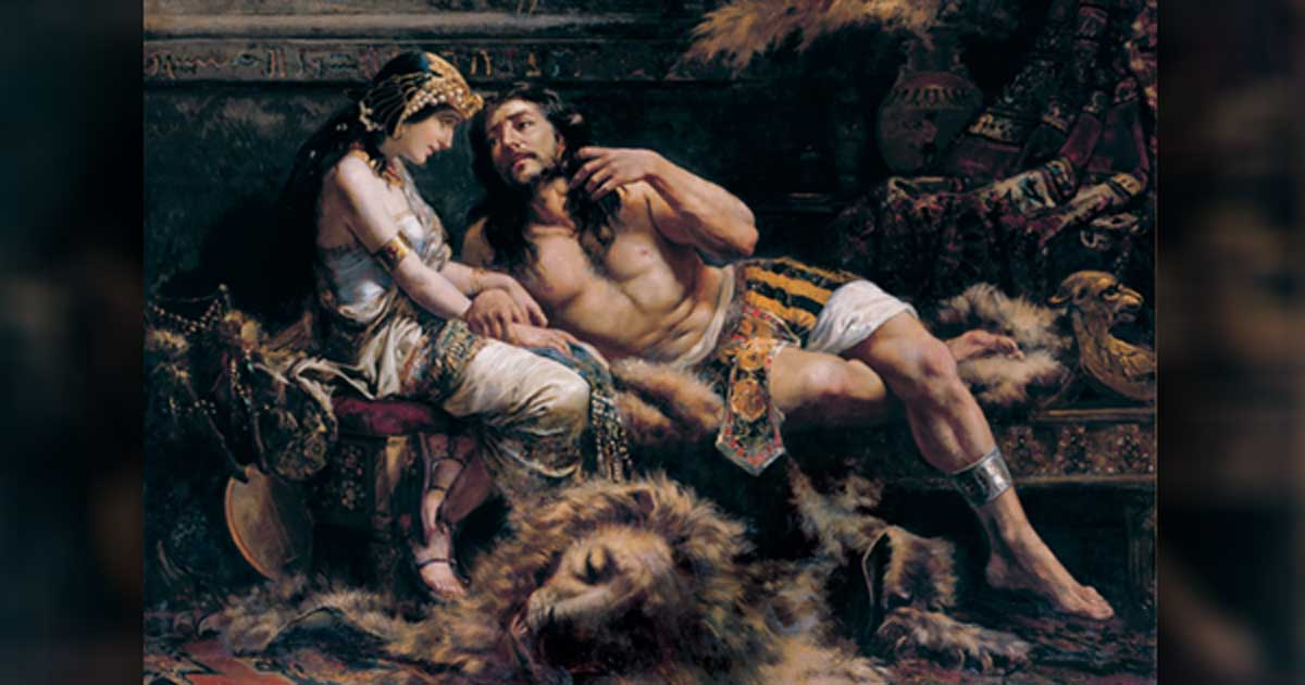 Samson and Delilah by Jose Etxenagusia, 1887.