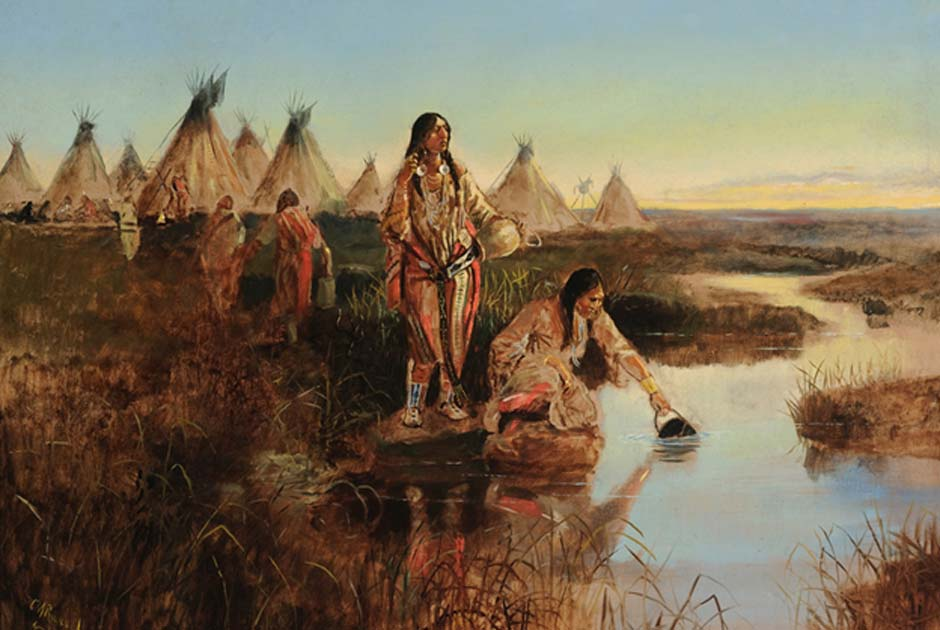 Water for Camp, depicting the everyday life of Native American women, Charles M. Russell
