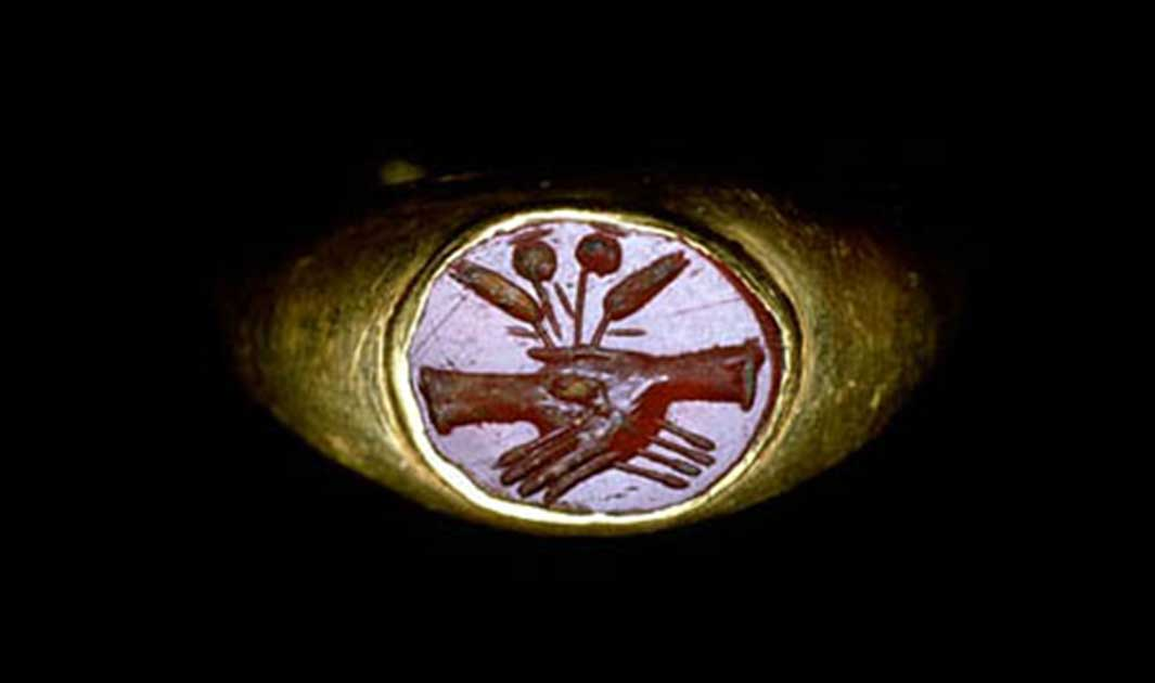 A Roman Ring With Linked Hands This Was Popular Design For Wedding Rings