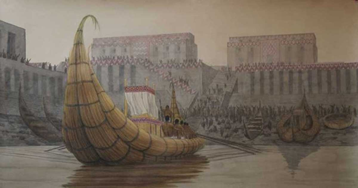 Re-creation of the port at the Sumerian city of Eridu.