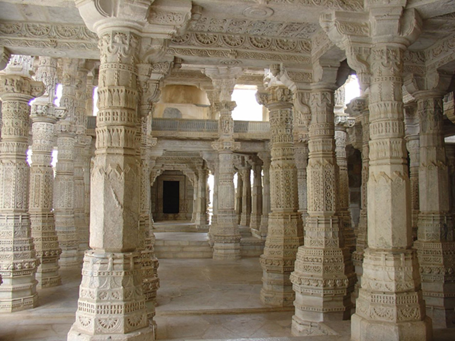 The White Temple Of Ranakpur 1444 Decorated Pillars And