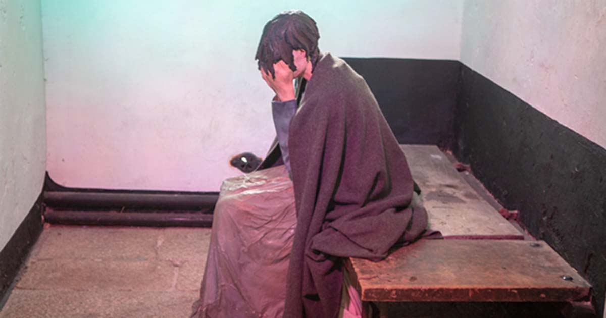 A model of an impoverished woman inside Wicklow Gaol.
