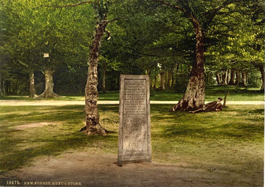The Rufus Stone in the New Forest, England, from sometime between 1890 and 1900. (Public Domain)