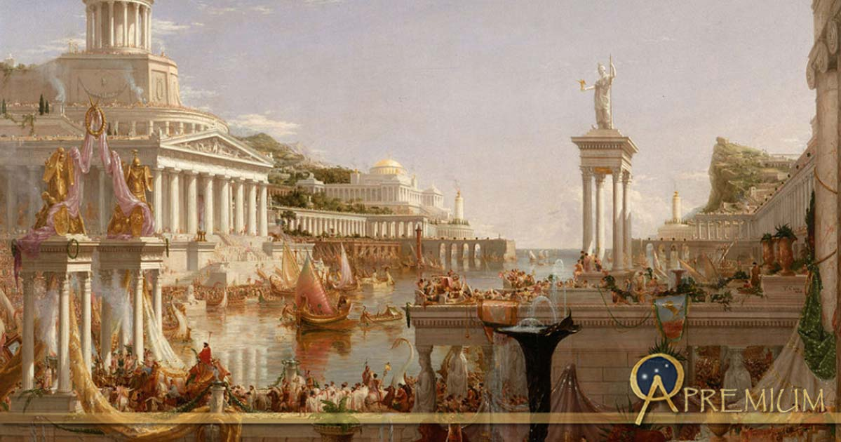 "Roman citizens enjoyed many privileges. ""The Consummation The Course of the Empire"" by  Cole Thomas"