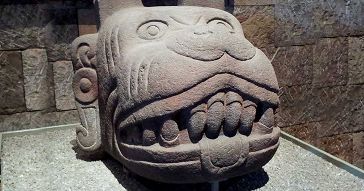 Aztec sculpture representing the head of the aztec god Xolotl, exhibited in the Mexico room of the Museo Nacional de Antropología de México.