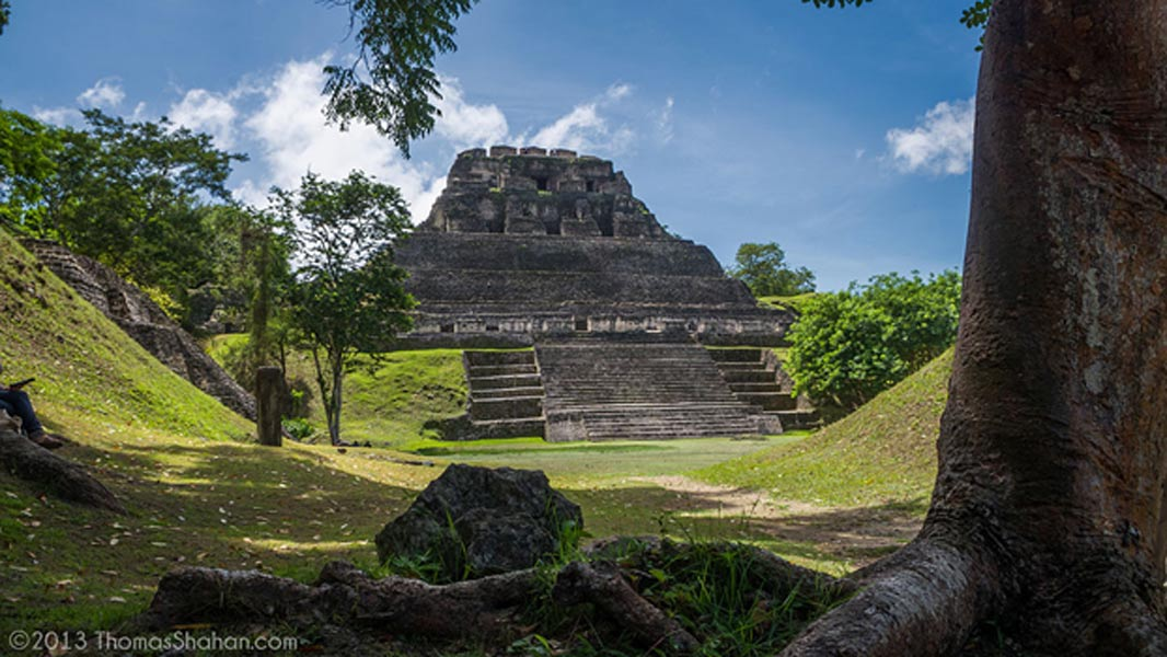 A view across the main plaza of Xunantunich to El Castillo