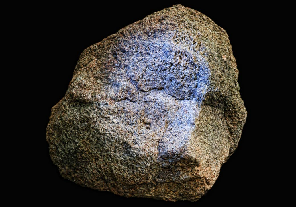 Yamacutah Statue Head showing blue pigment.