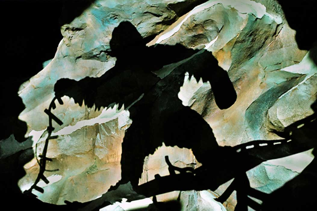 Depiction of Yeti shadow from wall of the mountain of the roller coaster Expedition Everest at Disney's Animal Kingdom of Walt Disney World in Orlando, Florida