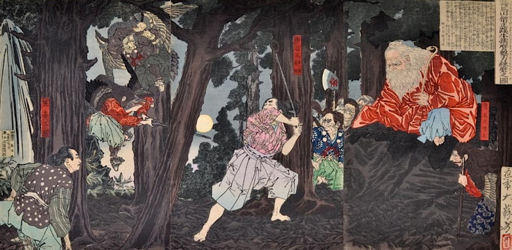 Yoshitoshi, Ushiwaka Maru learns Martial Arts from Sojobo, King of the Tengu, 1880