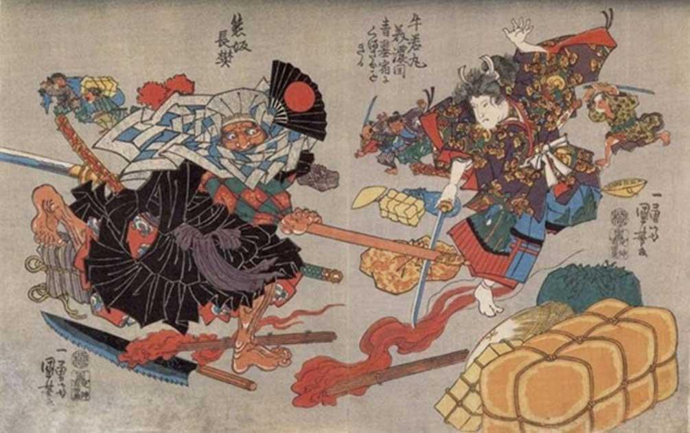 Fight between Ushiwaka Maru (Minamoto no Yoshitsune) and Kumasaka Chôhan at the inn; bales and a torch on the ground, and Kisanda in the distance. (circa 1840-1843) By Utagawa Kuniyoshi.