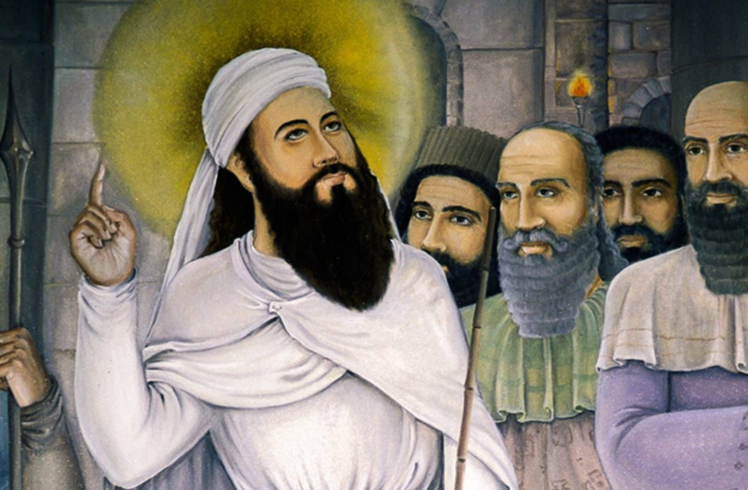 Painting of Zarathustra (Zoroaster) at a temple in Isfahan, Iran.