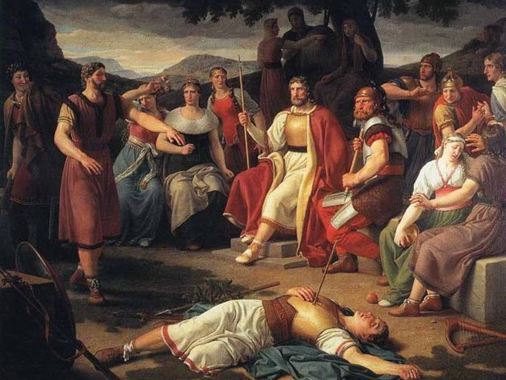 Æsir gathered around the body of Baldr. Painting by Christoffer Wilhelm Eckersberg 1817