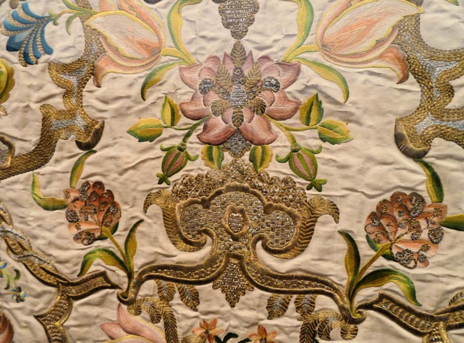 Detail of altar frontal (antependium}, France or Italy, 1730-1740. Silk satin with silk and metallic-thread embroidery, guipure and gaufrure.